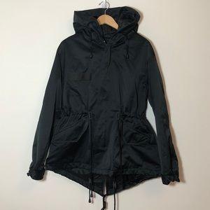 Nili Lotan Aviano Black Satin Parka Coat sz M Made in USA